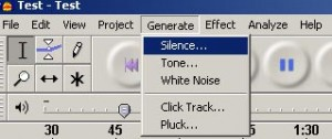 Generate silence in Audacity