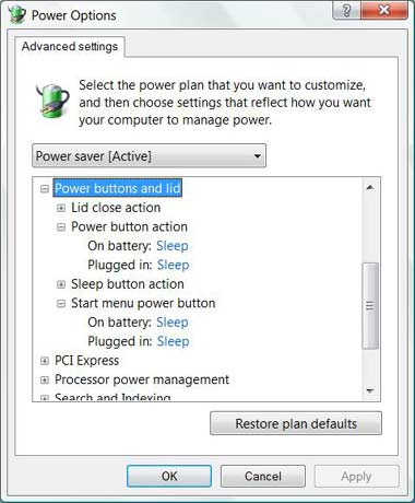 Vista power button options