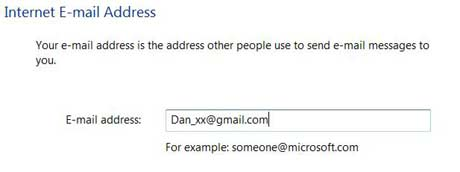 Email address in Windows Mail