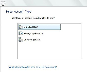 New account wizard in Windows Mail