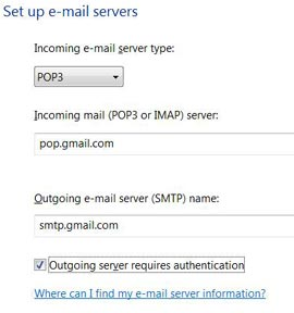 POP SMTP address in Windows Mail