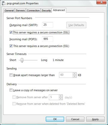 POP SMTP settings