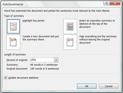 Options for AutoSummarize