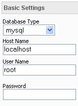 basic database connection settings