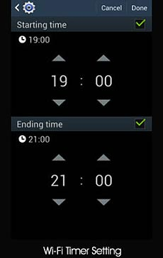 Samsung S4 WiFi timer control