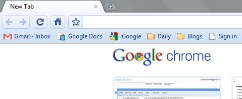 Screenshot of Chrome bookmark menu