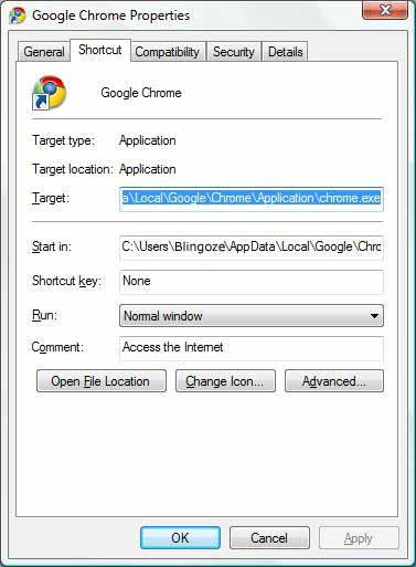 Chrome properties dialog box