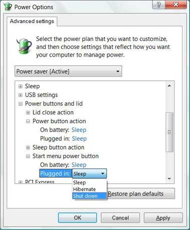 Vista power button options
