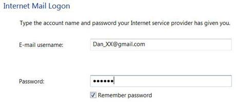 Logon information in Windows Mail