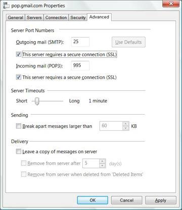 POP SMTP settings