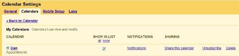 Google Calender settings tab