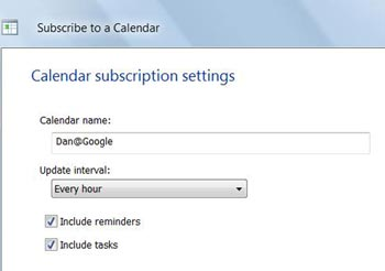 Subscribe to Google Calender in Windows Calender