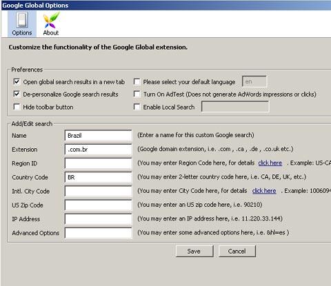 Customizing Google Global