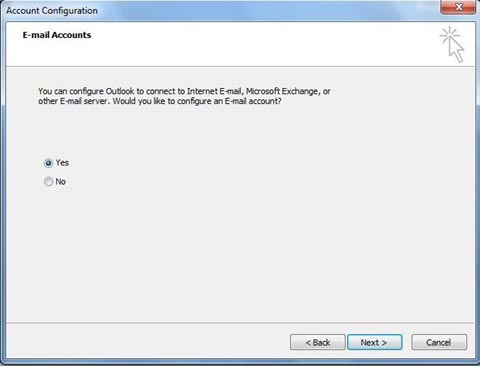 Outlook 2007 account configuration