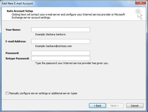 Outlook auto account