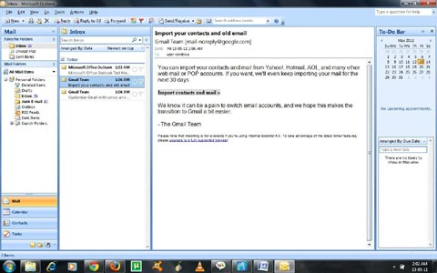 Outlook 2007 email screen