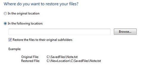 Restored file location