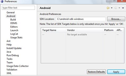 Android SDK preferences