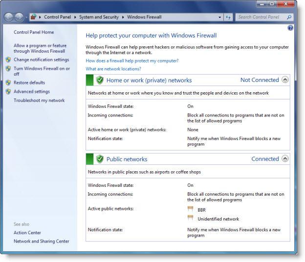 Windows 7 firewall