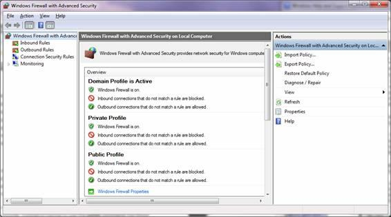 Windows 7 firewall settings