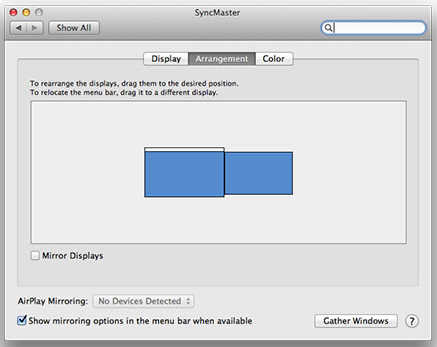 Two Mac display system preferences