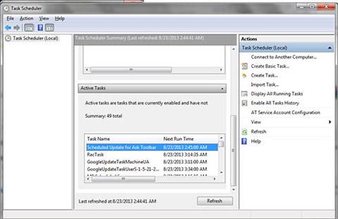 Windows7 scheduled tasks